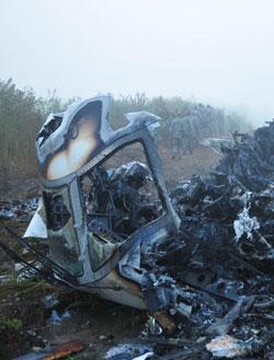 事故现场的飞机残骸