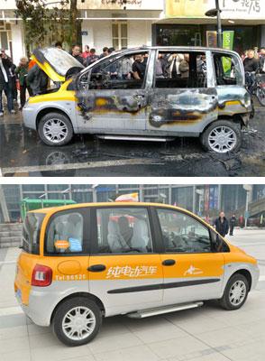 4月11日下午3时许,一辆众泰生产的电动出租车在杭州街头营运时发生自燃,几乎完全被烧毁。下图为杭州街头的众泰电动出租车。(上图来源:李忠/CNSPHOTO;下图来源:朱引炜/CFP)