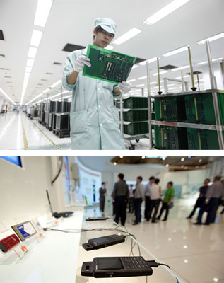 中兴和华为公司总部均位于深圳,双方在国内外市场的竞争与碰撞无处不在。上图为深圳中兴通讯生产车间。(张勇/CFP)下图为深圳华为总部。(Forbes Conrad/Bloomberg/CFP)