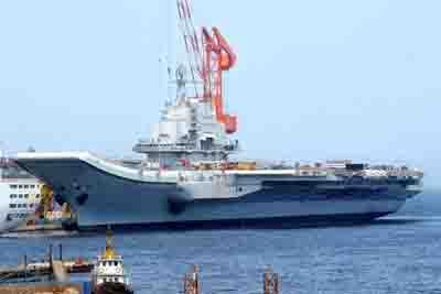 组图:中国首艘航空母舰改装工程收尾-中国航母平台进行出海航行试验