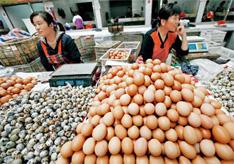 通胀居高不下是中国经济的另一难题,进入9月,食用农产品价格环比涨幅出现逐周扩大的趋势。多家机构预计,9月CPI将反弹。图为2011年9月15日,安徽淮北市,菜市场内销售的食用农副产品。