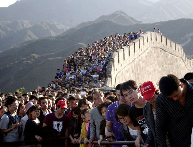 Badaling is one of the most popular sections of the Great Wall of China, but in recent years, phenomenal crowds over China's national holiday week have also created significant renown. Beijing Times/Oriental IC