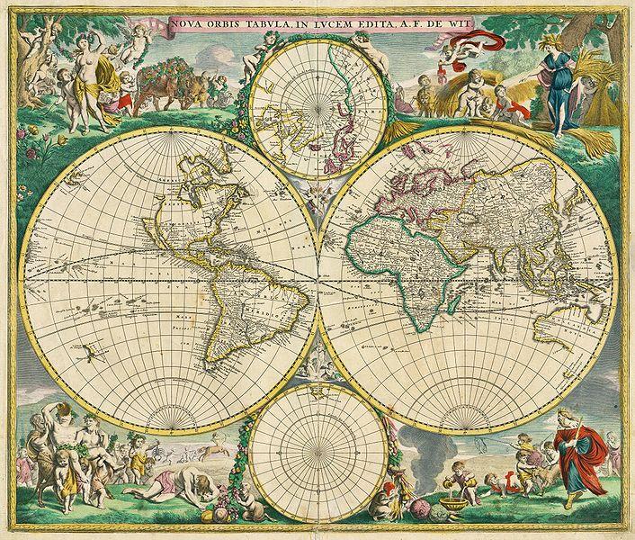 """图4. """"商业英雄时代""""的世界地图( 1699-1800)."""
