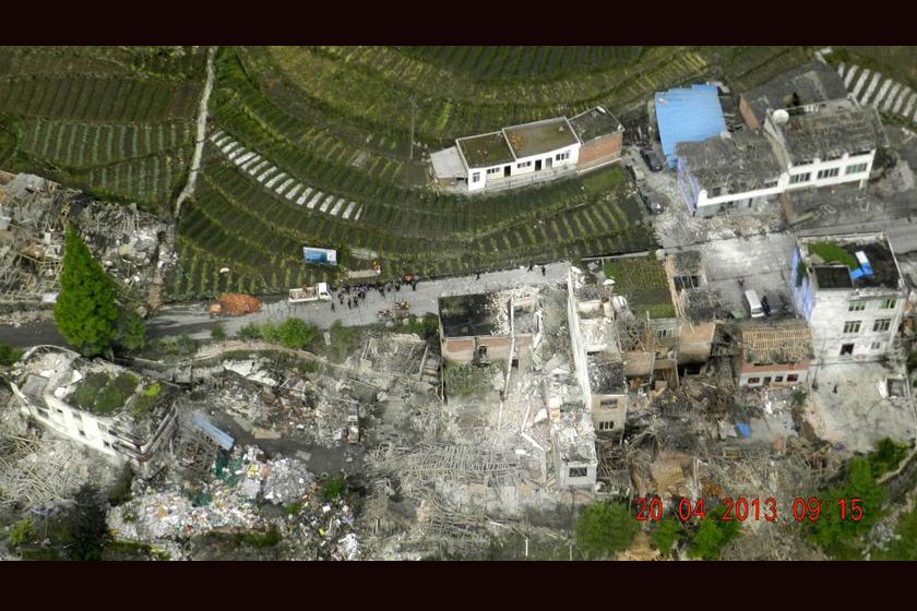 Aerial view of a town in Lushan county after the earthquake