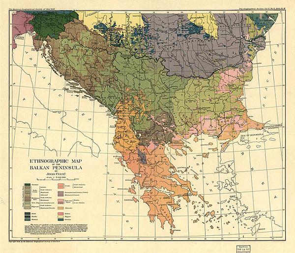 《巴尔干半岛的民族志地图》,约凡·科维伊奇,1918年