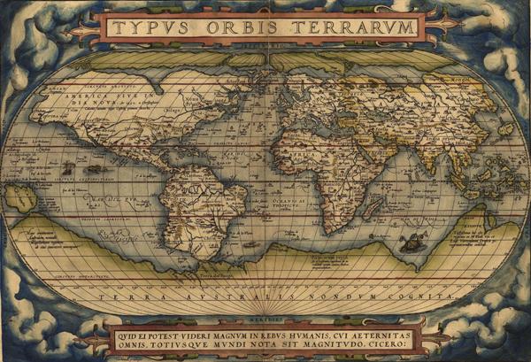 《双半球投影世界地图》,亚伯拉罕·欧特利奥斯,1570年