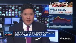 迪士尼上调半年度现金股息