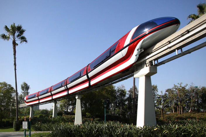 The 57-year-old Disneyland Monorail System, at the Disneyland Resort in Anaheim, California, was originally only a sightseeing attraction. It began carrying passengers in 1961. Photo: Kim A. Pedersen