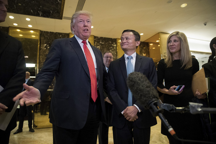 Alibaba Chairman Jack Ma (center) meets with U.S. President-Elect Donald Trump at the Trump Tower in New York City on Monday. Photo: Visual China