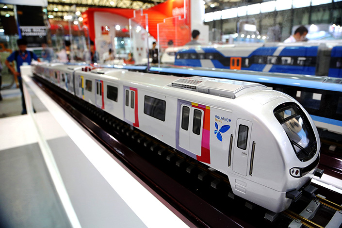A model of a Mumbai Metro No.1 train is displayed at the China International Rail and Metro Exhibition on June 12, 2015, in Shanghai. CRRC Corp Ltd. has reached an agreement to sell 120 subway cars to the Massachusetts Bay Transportation Authority. Photo: IC