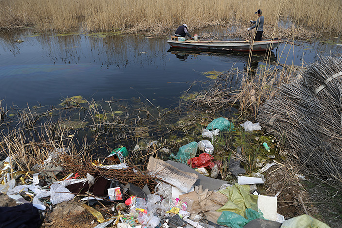 Baiyangdian lake in Anxin county, Xiongan district, Hebei province, China, on April 5, 2017.  Once known as the kidneys of Northern China, Baiyangdian has been polluted by hundreds of small copper smelters and aluminum factories up stream dumping waste water into it for decades. Photo: IC