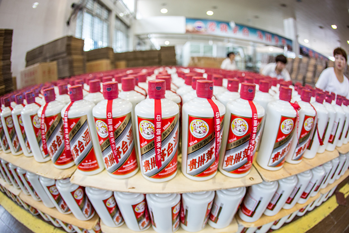 Kweichow Moutai Co. Ltd. last week became the world's most valuable liquor maker. Above, Moutai liquor is packaged in a factory in Renhuai, Guizhou province, on March 14. Photo: IC