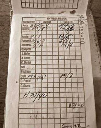 """△ 古巴居民的""""粮本"""",上面记录着每月免费供给的食品领取状况"""