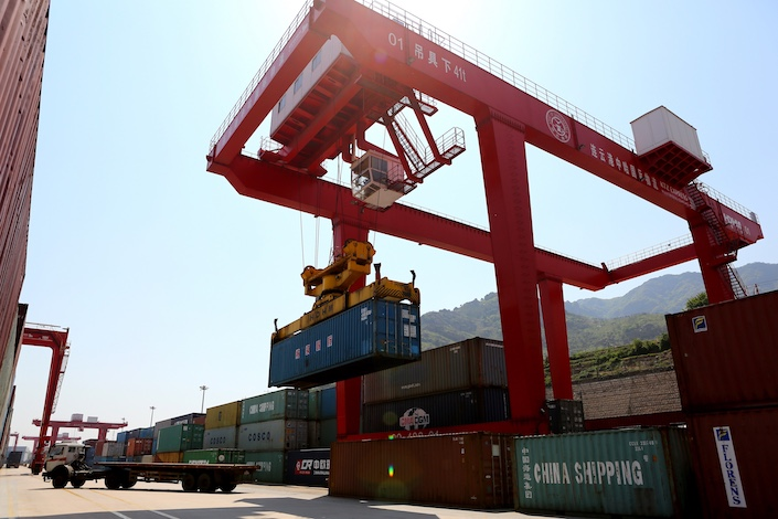 A container storage yard at a logistic park in Lianyungang, Jiangsu province on April 27. The park was jointly built by China and Kazakhstan in 2014 to serve freight trains from Lianyungang to the Central Asian country. Photo: Visual China