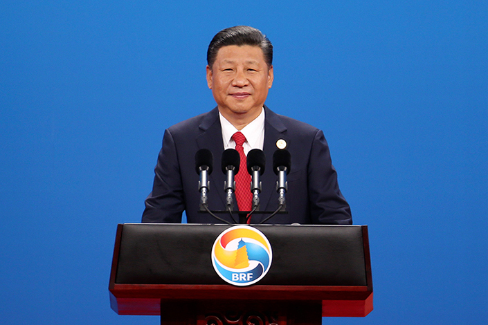 Chinese President Xi Jinping delivers a speech in Beijing during the opening ceremony of the Belt and Road Summit on Sunday. Photo: China News Service
