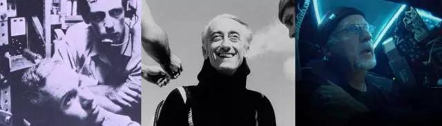 人类首次下潜至海底最深处(1960年)的两位深海探险者皮卡尔和沃什(左)、海洋探险家库斯托(中)、导演卡梅隆(右)。