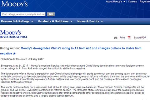 穆迪下调中国主权评级至A1 财政部称高估了中国经济的困难