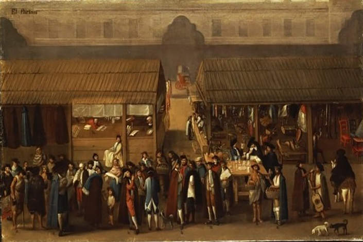 A painting, circa 1770, shows the Chinese market in Mexico City. Photo: Wikimedia Commons