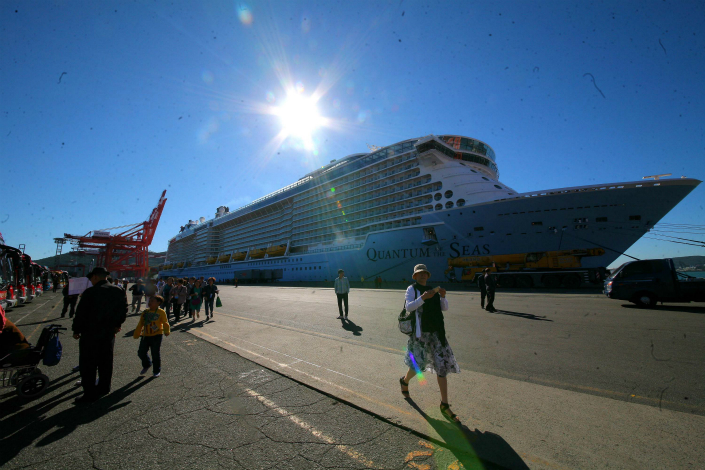 A new report shows that shopping has become a less-important reason for mainland Chinese to travel overseas, while leisure and entertainment have become bigger priorities. Above, Royal Caribbean's Quantum of the Seas is docked in Shanghai in October 2015. Photo: Visual China