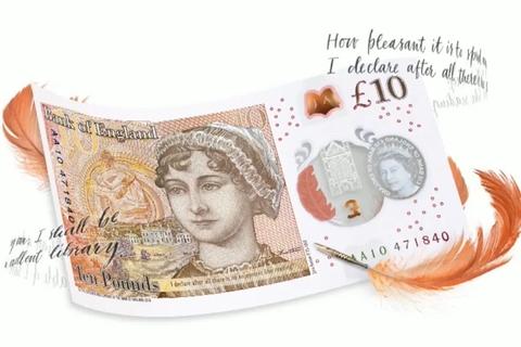 简·奥斯汀亮相新版10英镑纸币