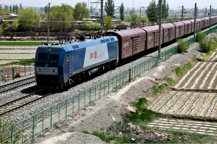 A freight train passes through Zhangye, Gansu province, on May 5, 2017. China's rail operator, CRC, posted its best performance ever in the first six months of 2017. Photo: Visual China