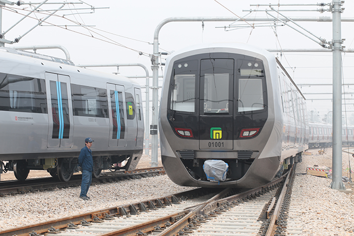 Baoding, Hebei province, will be the site of Beijing Infrastructure Investment Co. Ltd.'s new 250-acre site for manufacturing subway cars. Above, a subway car is seen in Shijiazhuang, Hebei province, in April 2016. Photo: Visual China