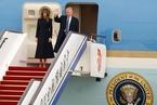 美国总统特朗普抵达北京 开始对中国进行国事访问
