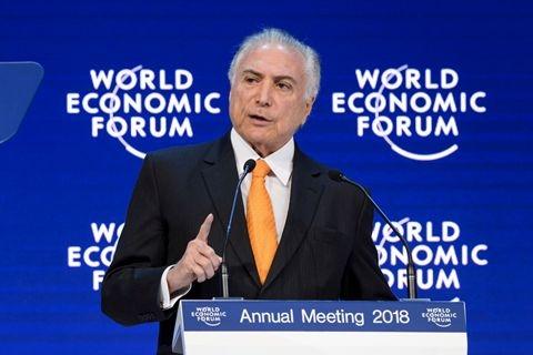 当地时间2018年1月24日,瑞士达沃斯,巴西总统特梅尔在达沃斯论坛