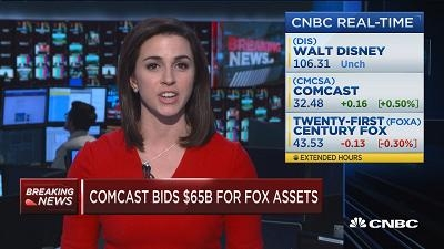 Comcast出价650亿美元竞购福克斯 高出迪士尼出价19%