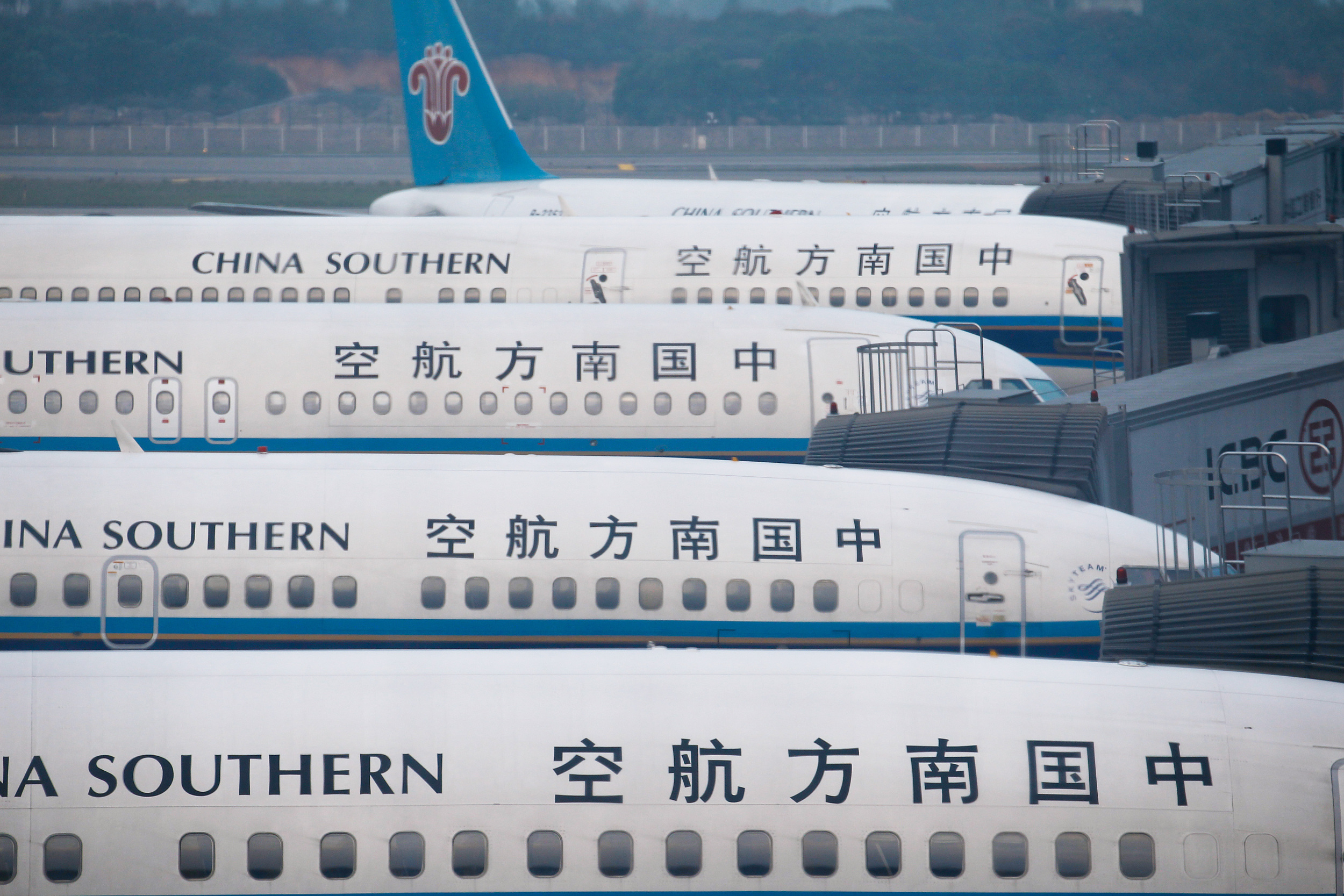 China Southern airliners sit in Guangzhou Baiyun International Airport in February 2011. Photo: VCG