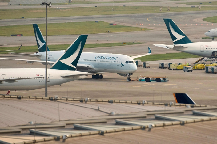 Cathay Pacific Airways jets on the tarmac at Hong Kong International Airport on Aug. 7. 2018. Photo: VCG