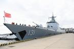 中国海军太原舰在东京湾附近与日舰进行联合训练