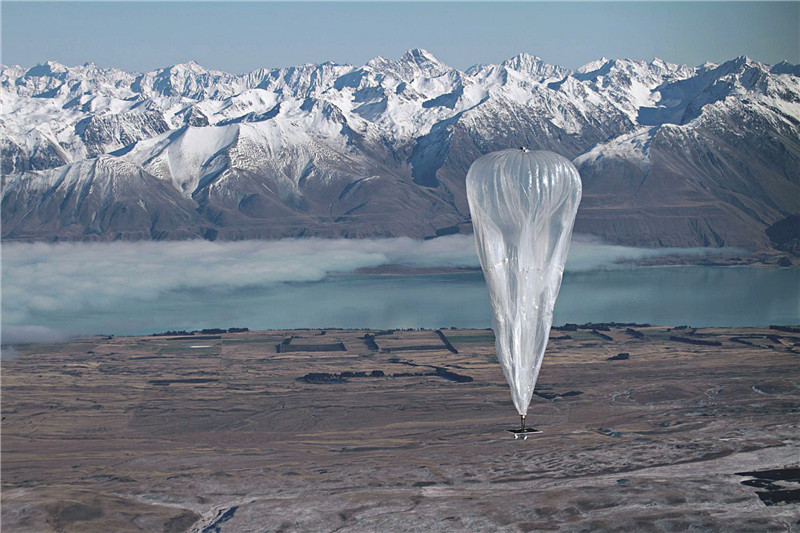 A balloon launched by Google in New Zealand in June 2013