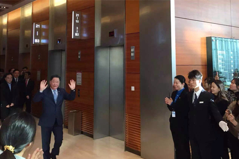 Former COFCO chairman Ning Gaoning leaves the offices in Beijing on January 05 / COFCO