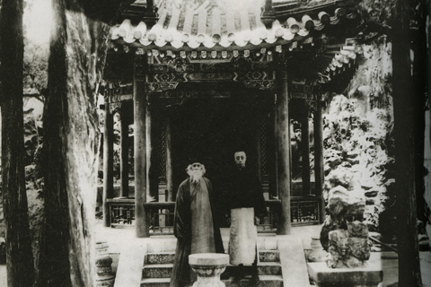 Indian poet Rabindranath Tagore with Pu Yi, the last emperor of the Qing Dynasty (1611-1912), during his visit to China in 1924
