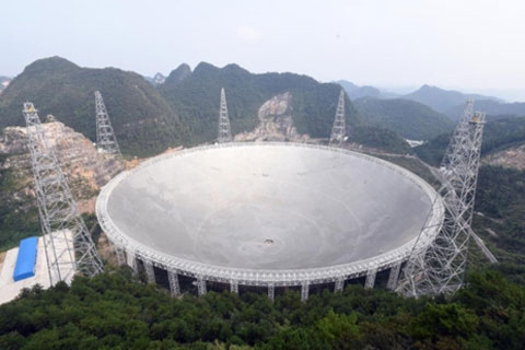 The giant Aperture Spherical Telescope (FAST), the world's largest radio telescope in Pingtang, Guizhou province, began testing on Sunday. Photo: Visual China