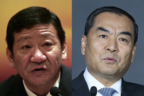 Ping An Bank Chairman Sun Jianyi (left) and President Shao Ping (right) are leaving their posts. Photo: Visual China