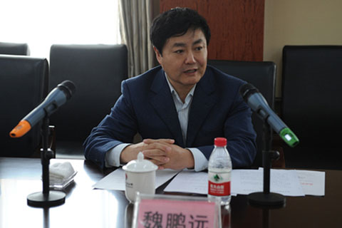 Wei Pengyuan, the then-deputy director of the National Energy Administration's Coal Department, makes a speech after touring Shaanxi Binchang Mining Group in 2013. Photo: Shaanxi Binchang Mining Group