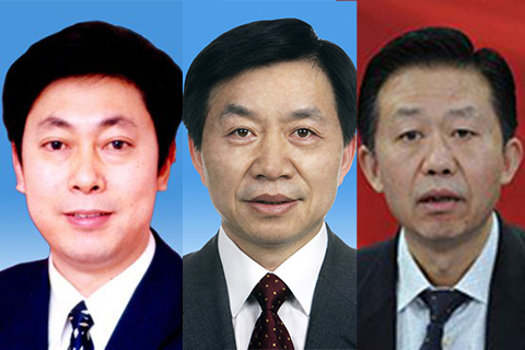 From right: new finance minister Xiao Jie, new state security minister Chen Wenqing, and new civil affairs minister Huang Shuxian.