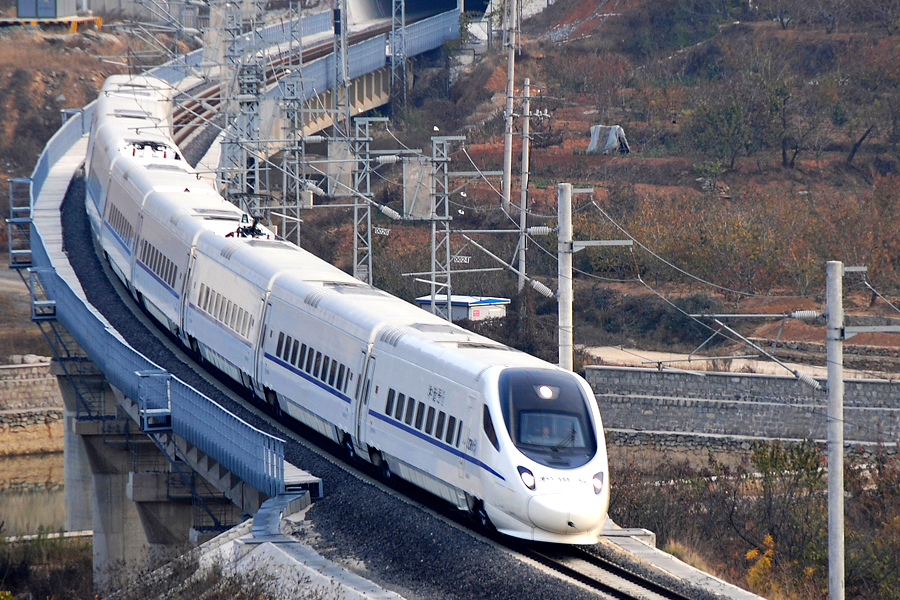 The first Rongcheng-to-Qingdao bullet train leaves Rongcheng on Nov. 16 on the intercity railway connecting the two cities. Photo: IC