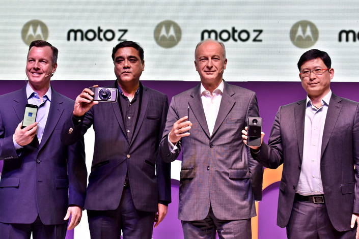 Lenovo Group Ltd. launches new models of the Moto Z and Moto Z Play cellphones in New Delhi, India, on Oct. 4. Lenovo has become one of top three cellphone players in terms of market shares in India, Brazil and Russia. Photo: Visual China