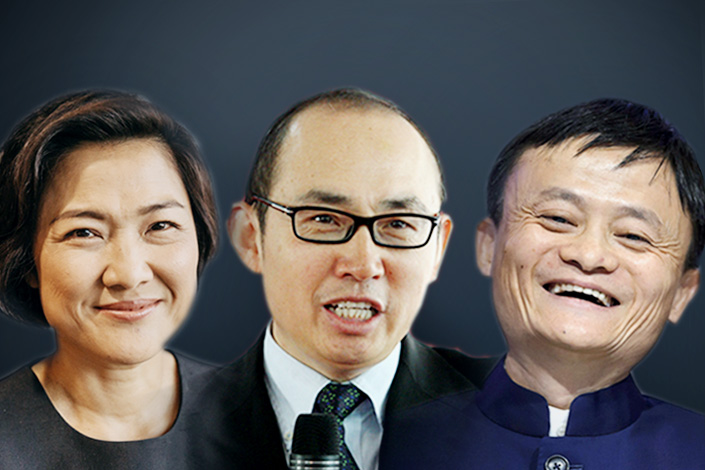 Zhang Xin (left) and Pan Shiyi (center), co-founders of the Soho real estate empire, and Jack Ma, founder and chairman of Alibaba Group Holding Ltd., are three of the 21 global business leaders to contribute to the $1 billion Breakthrough Energy Ventures Fund. Photo: Visual China