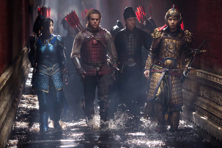 A scene from the movie The Great Wall features (from left) Jing Tian, Matt Damon, Andy Lau and Chen Xuedong. With a cost of $150 million, The Great Wall is the most expensive movie ever filmed in China. Photo: Visual China
