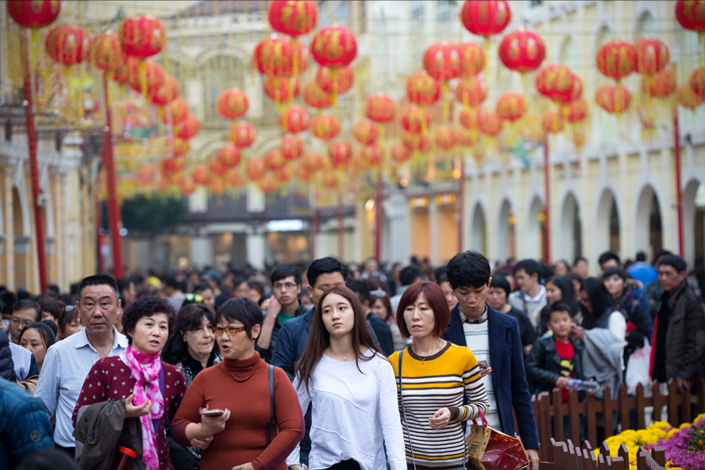 Tourists flock into Senado Square in Macau during the Chinese New Year holiday on Feb. 11. Photo: IC