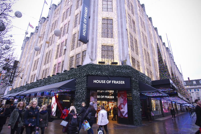 A House of Fraser department store is on Oxford Street in central London's shopping district. Photo: Shutterstock