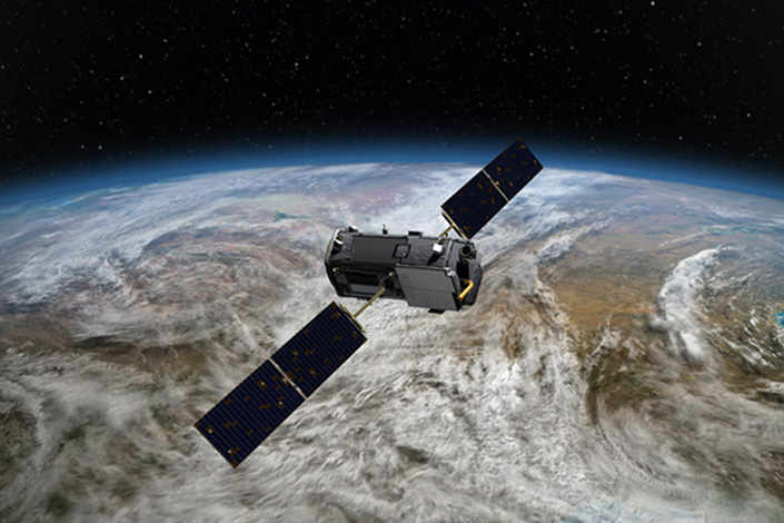 An artist's rendering shows NASA's Orbiting Carbon Observatory-2, a U.S. environmental-science satellite that launched on July 2, 2014. Photo: Visual China