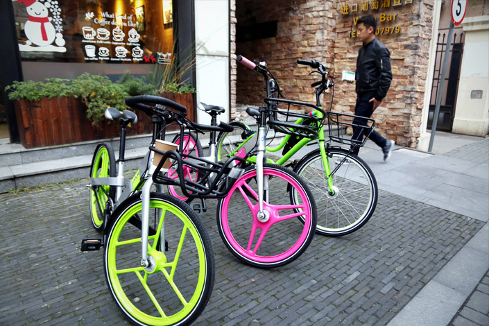 Bicycles developed under a partnership between bike-sharing service platform U-Bicycle and Zhonglu Co. Ltd., maker of Forever bikes, are shown in Shanghai on Tuesday. Photo: IC