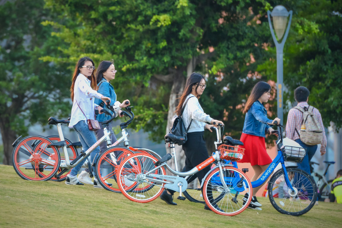 Bicycle sharing is becoming increasingly popular in Shenzhen, Guangdong province, as a growing number of people use the rental bikes for short-distance travel. Photo: Visual China
