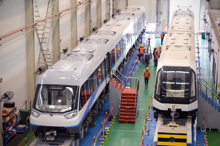Maglev trains are assembled in the production department of CRRC Zhuzhou Locomotive Co. Ltd. in Changsha, Hunan province, on Dec.3. Photo: Visual China