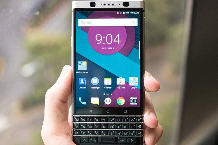 A publicity photo shows a prototype BlackBerry model, code-named